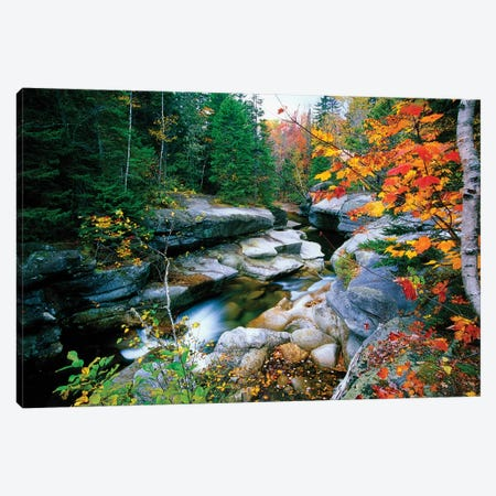 Granite rocks of Ammonoosuc River in Fall, White Mountains, New Hampshire  Canvas Print #GOZ89} by George Oze Canvas Print