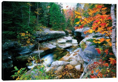 Granite rocks of Ammonoosuc River in Fall, White Mountains, New Hampshire  Canvas Art Print