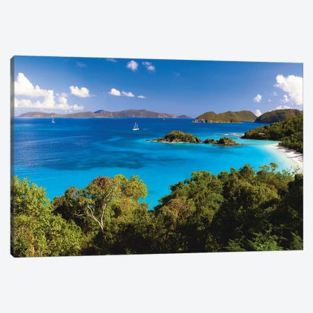 High Angle Panoramic View of Trunk Bay, St John, US Virgin Islands Canvas Print #GOZ92} by George Oze Canvas Artwork