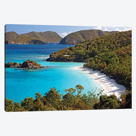 High Angle View of a Bay, Trunk Buy, St. John, US Virgin Islands Canvas Print #GOZ93} by George Oze Canvas Art