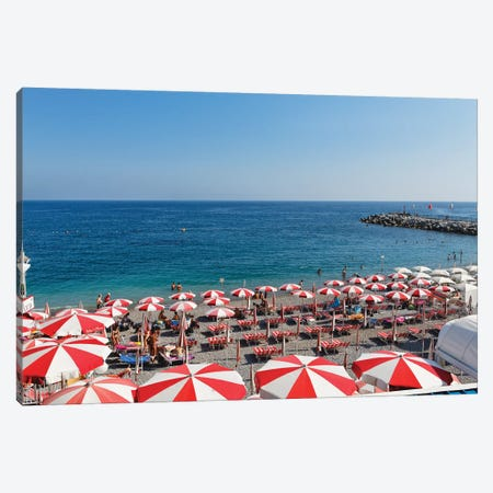 High Angle View of a Beach with Rows of Beach Umbrellas and chairs, Amalfi, Campania, Italy Canvas Print #GOZ94} by George Oze Canvas Print