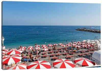 High Angle View of a Beach with Rows of Beach Umbrellas and chairs, Amalfi, Campania, Italy Canvas Art Print