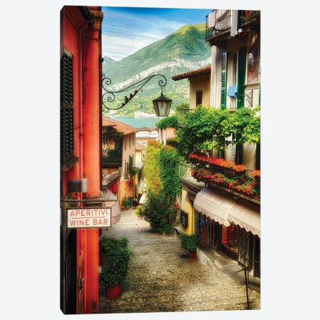 High Angle View of a Narrow Street with Balconies and Shops, Bellagio, Lake Como, Lombardy, Italy Canvas Print #GOZ96} by George Oze Canvas Print