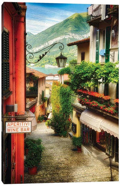 High Angle View of a Narrow Street with Balconies and Shops, Bellagio, Lake Como, Lombardy, Italy Canvas Art Print