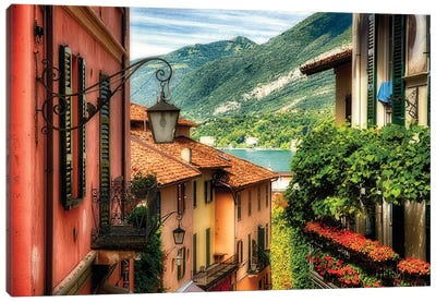 High Angle View of a Street with Balconies , Bellagio, Lake Como, Lombardy, Italy Canvas Art Print