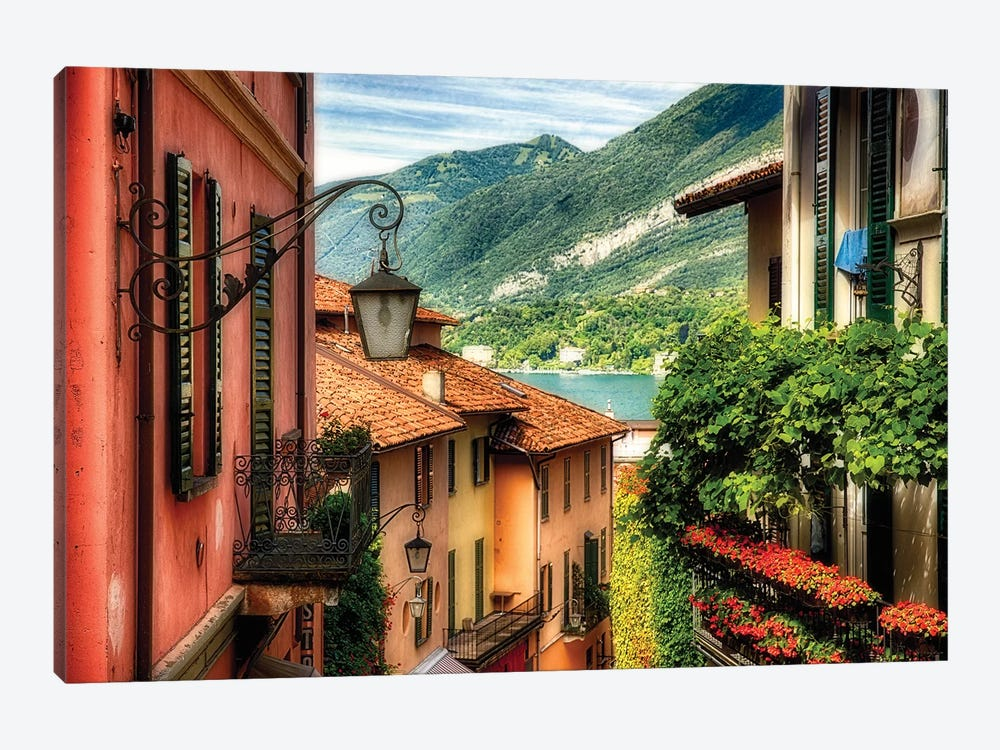 High Angle View of a Street with Balconies , Bellagio, Lake Como, Lombardy, Italy by George Oze 1-piece Art Print