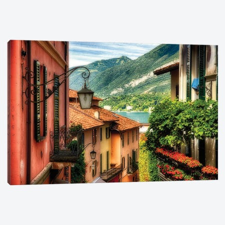 High Angle View of a Street with Balconies , Bellagio, Lake Como, Lombardy, Italy Canvas Print #GOZ97} by George Oze Art Print