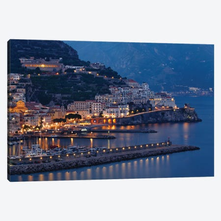 High Angle View of Amalfi at Night, Campania, Italy Canvas Print #GOZ98} by George Oze Canvas Art