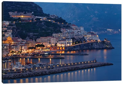 High Angle View of Amalfi at Night, Campania, Italy Canvas Art Print