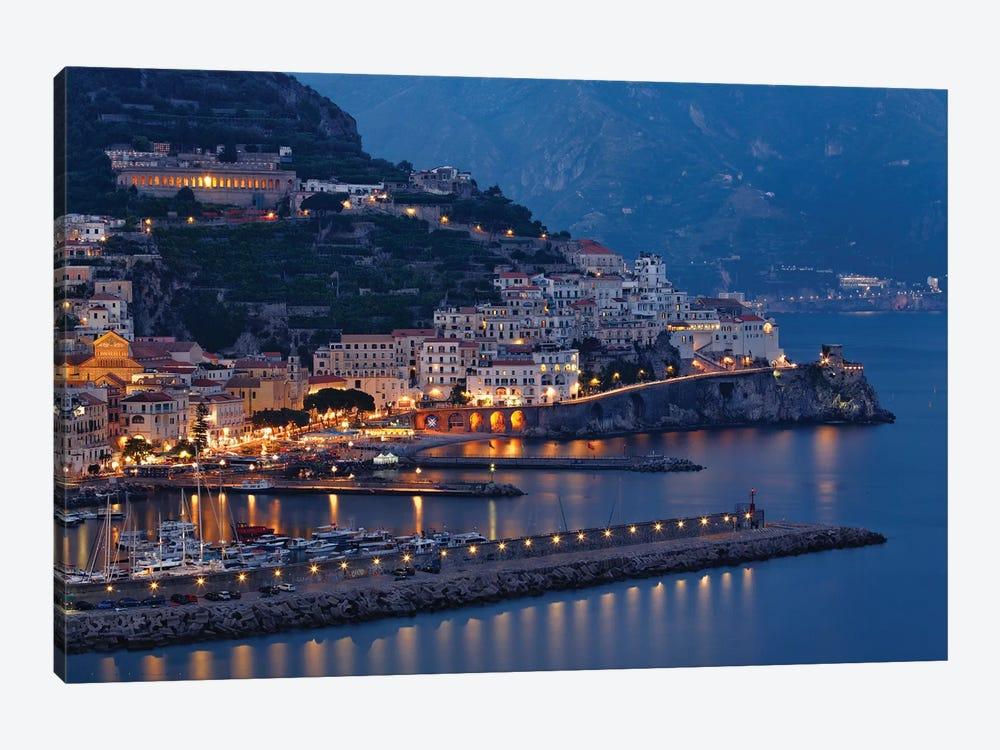 High Angle View of Amalfi at Night, Campania, Italy by George Oze 1-piece Canvas Wall Art
