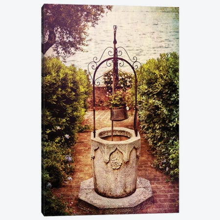 Antique Italian Well in a Garden at Lake Garda Canvas Print #GOZ9} by George Oze Canvas Artwork