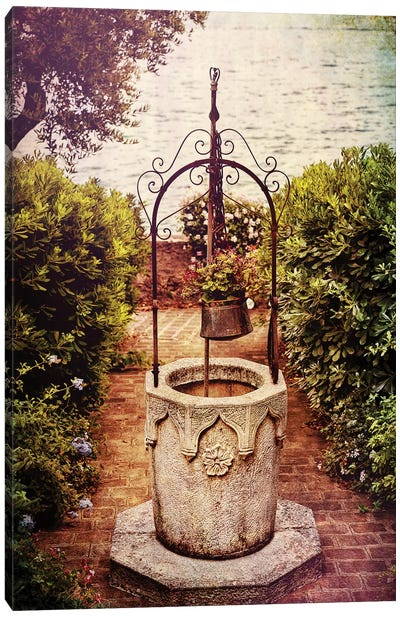 Antique Italian Well in a Garden at Lake Garda Canvas Art Print