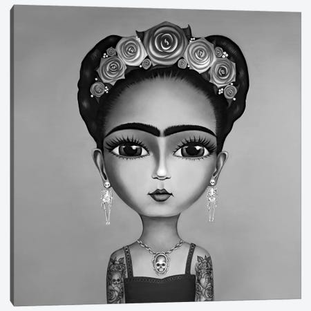 Frida Kahlo Black And White Canvas Print #GPA42} by Gina Palmerin Canvas Print