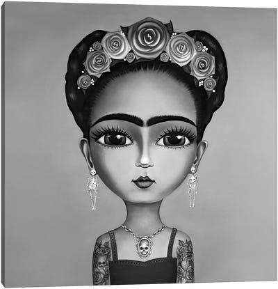 Frida Kahlo Black And White Canvas Art Print