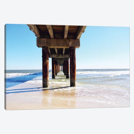 Sunlit Pier I Canvas Print #GPE39} by Gail Peck Canvas Wall Art