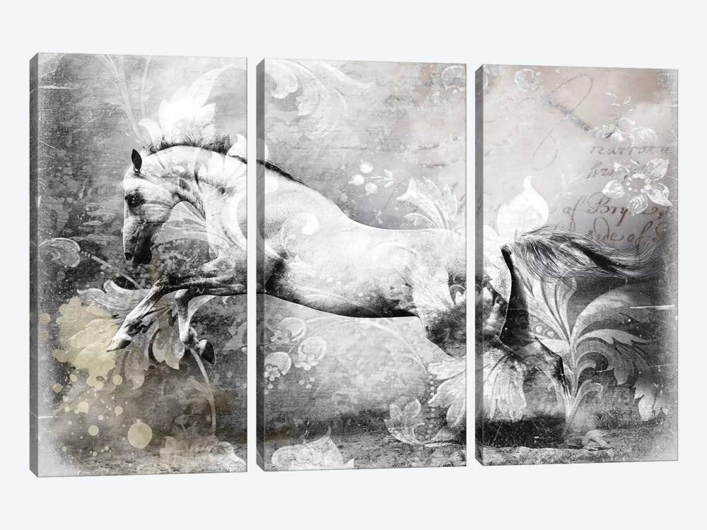 White Horse by GraphINC 3-piece Canvas Wall Art
