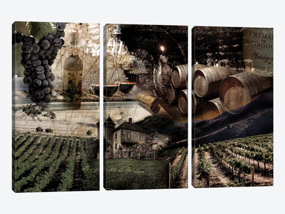 Wine by GraphINC 3-piece Canvas Print