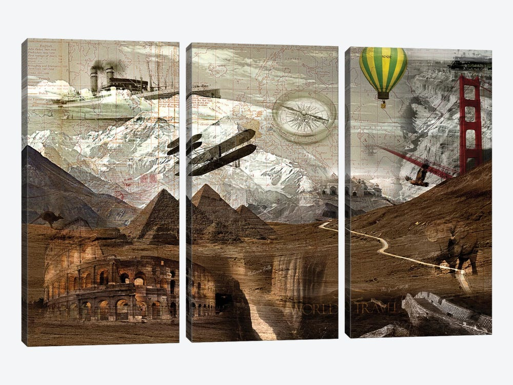 World Travel by GraphINC 3-piece Canvas Print