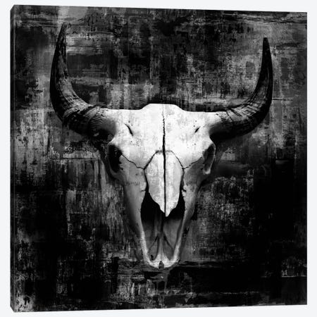 Cowskull On Black Canvas Print #GPH18} by GraphINC Art Print