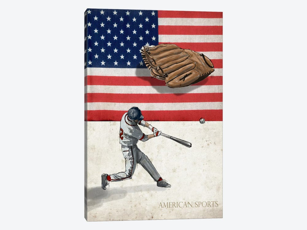 American Sports: Baseball I by GraphINC 1-piece Canvas Art