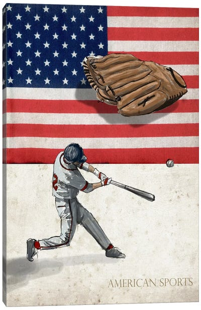 American Sports: Baseball I Canvas Art Print