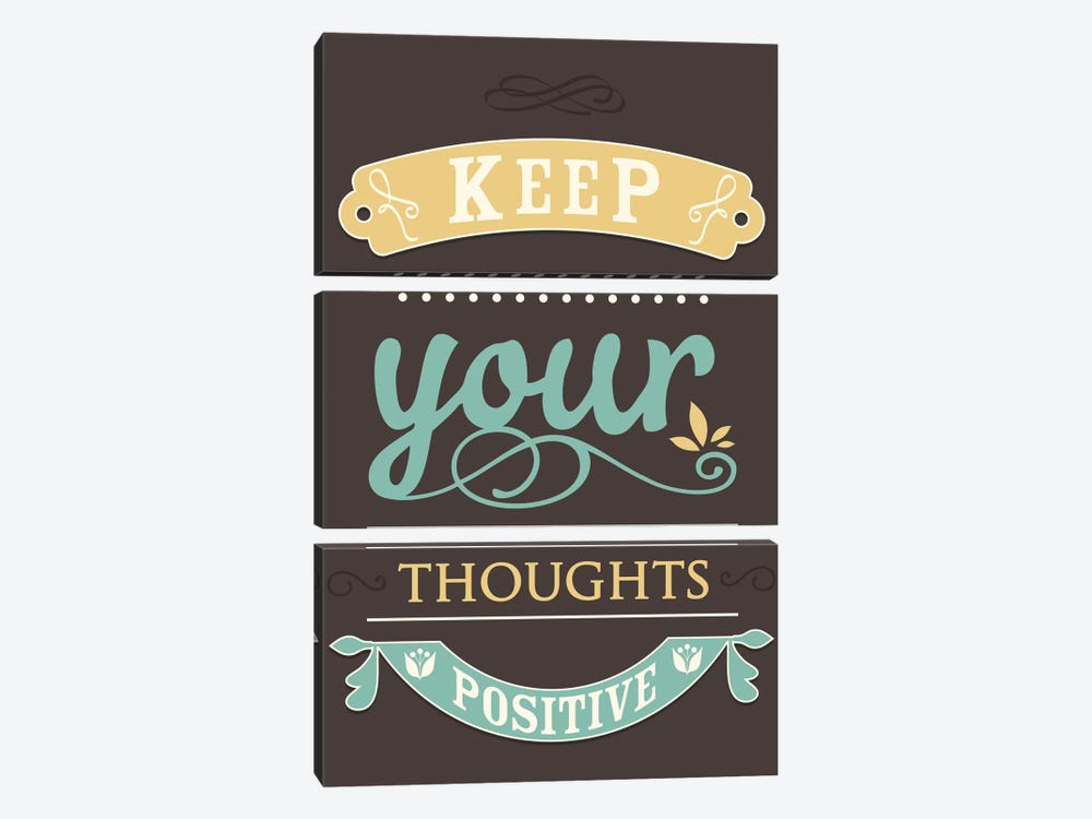 Keep Your Thoughts Positive by GraphINC 3-piece Canvas Artwork