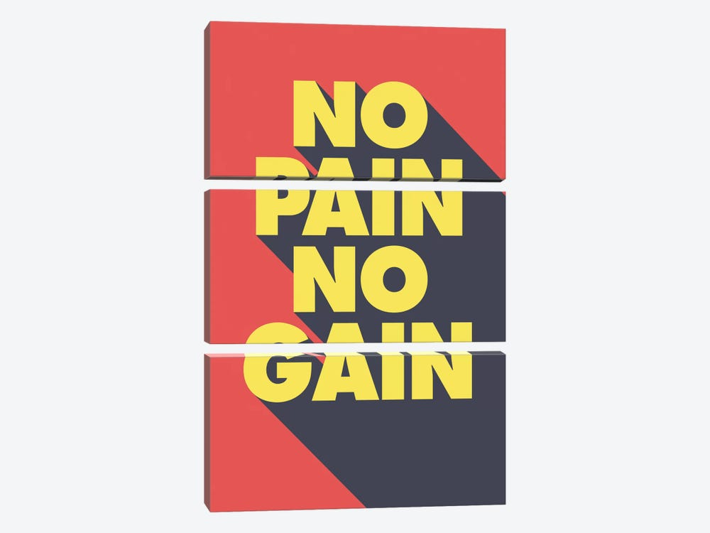 No Pain, No Gain by GraphINC 3-piece Canvas Art Print