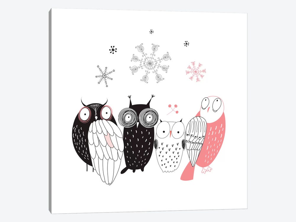 Owl Line-Up 1-piece Canvas Print