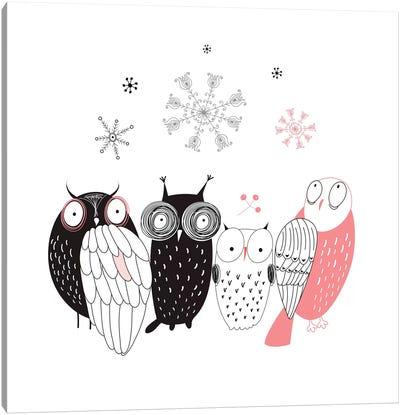 Owl Line-Up Canvas Art Print