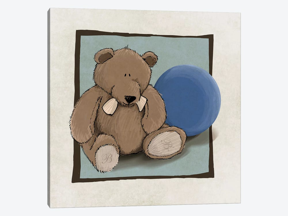 Teddy Bear And Ball by GraphINC 1-piece Canvas Wall Art