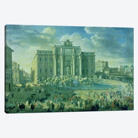 The Trevi Fountain in Rome, 1753-56  Canvas Print #GPP10} by Giovanni Paolo Panini Canvas Art Print