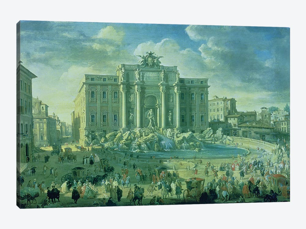 The Trevi Fountain in Rome, 1753-56  by Giovanni Paolo Panini 1-piece Canvas Print