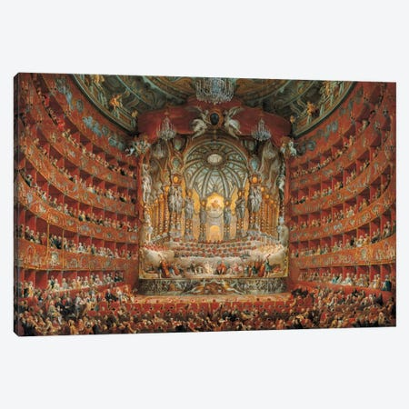 Festa In Teatro A Roma Canvas Print #GPP1} by Giovanni Paolo Panini Canvas Print
