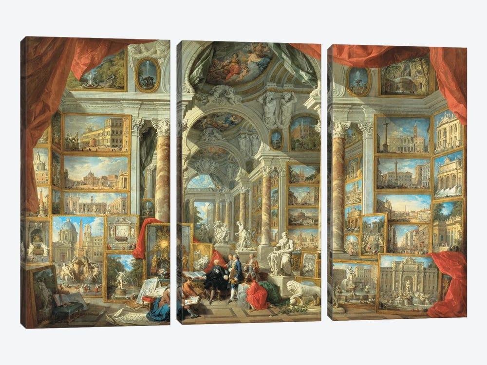 Vedute Di Roma Moderna Giclee by Giovanni Paolo Panini 3-piece Canvas Art Print