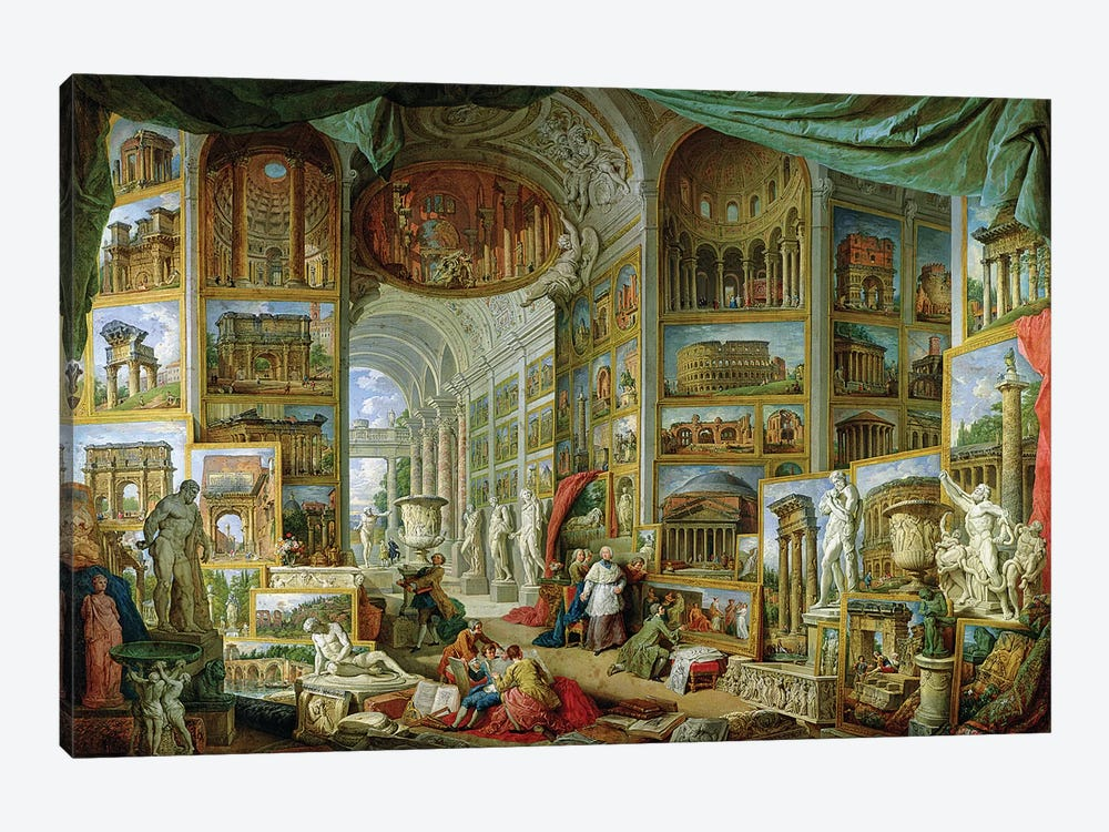Gallery of Views of Ancient Rome, 1758  by Giovanni Paolo Panini 1-piece Canvas Art