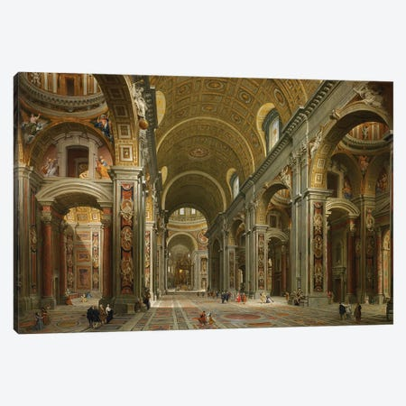 Interior of St. Peter's, Rome, 1731  Canvas Print #GPP5} by Giovanni Paolo Panini Canvas Wall Art