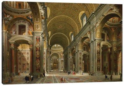 Interior of St. Peter's, Rome, 1731  Canvas Art Print