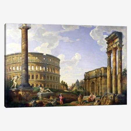 Roman Capriccio (Ruins With Colosseum)  Canvas Print #GPP7} by Giovanni Paolo Panini Canvas Wall Art
