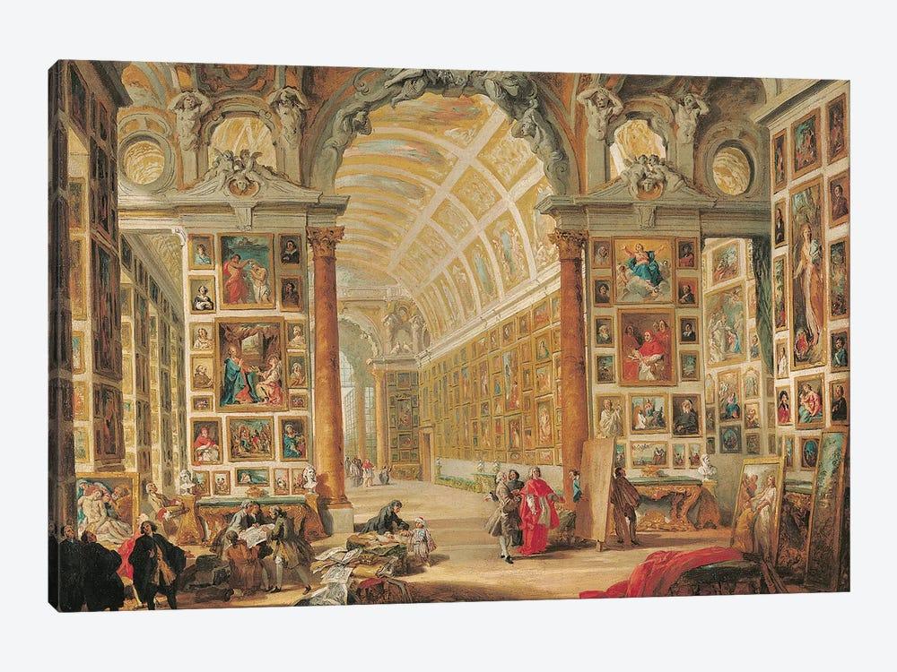 The Gallery of Cardinal Silvio Valenti-Gonzaga in Rome, 1749  by Giovanni Paolo Panini 1-piece Canvas Artwork