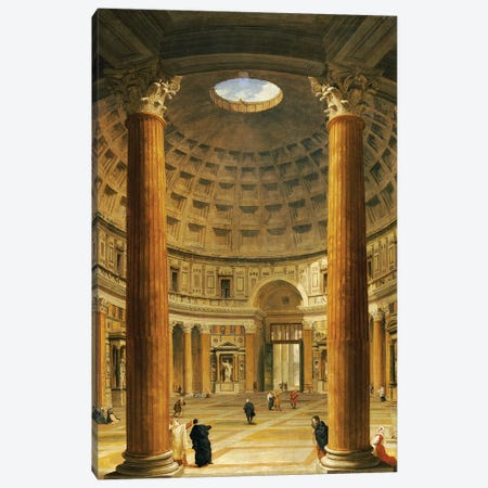 The Interior of the Pantheon, Rome, looking North from the Main Altar to the Entrance, 1732  Canvas Print #GPP9} by Giovanni Paolo Panini Canvas Art Print