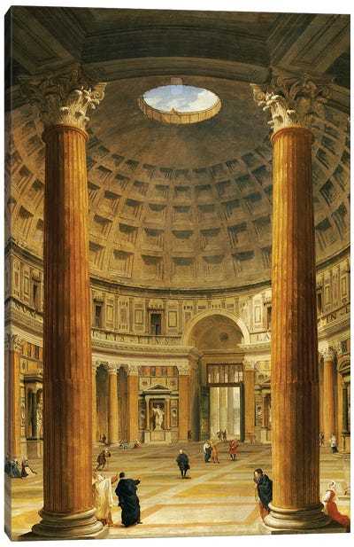 The Interior of the Pantheon, Rome, looking North from the Main Altar to the Entrance, 1732  Canvas Art Print