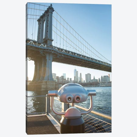Binoculars facing the Manhattan Bridge, Brooklyn Bridge Park, New York City, New York Canvas Print #GPR1} by Greg Probst Canvas Art Print