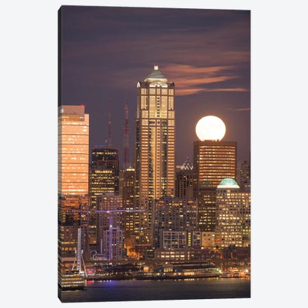 Moonrise behind the downtown Seattle skyline, Seattle, WA Canvas Print #GPR2} by Greg Probst Canvas Print