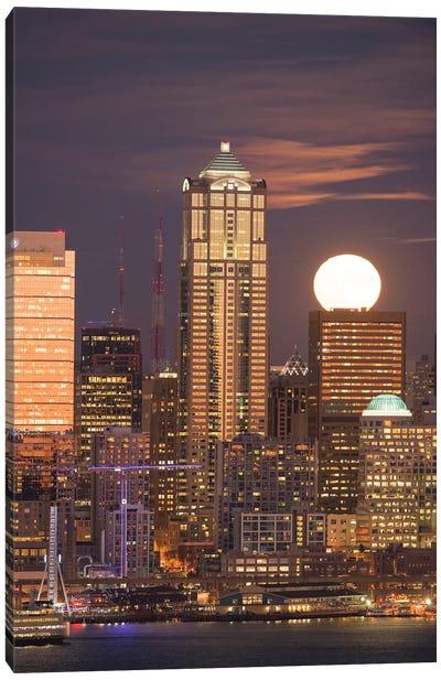 Moonrise behind the downtown Seattle skyline, Seattle, WA Canvas Art Print