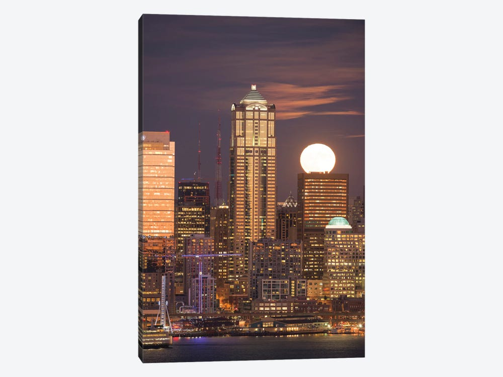 Moonrise behind the downtown Seattle skyline, Seattle, WA by Greg Probst 1-piece Canvas Wall Art