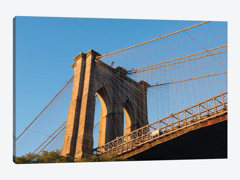 The south tower of the iconic Brooklyn Bridge, New York City, New York by Greg Probst 1-piece Canvas Print