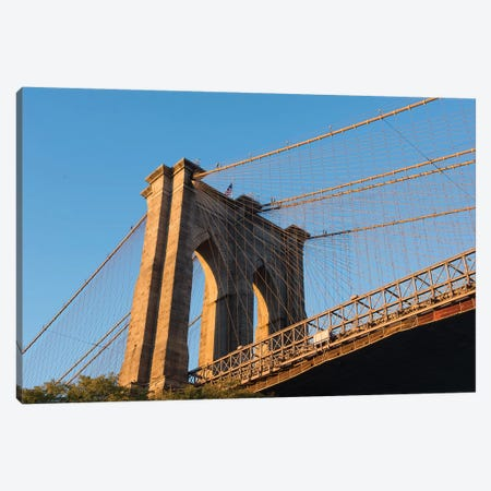 The south tower of the iconic Brooklyn Bridge, New York City, New York Canvas Print #GPR3} by Greg Probst Canvas Art Print