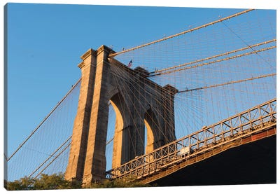 The south tower of the iconic Brooklyn Bridge, New York City, New York Canvas Art Print