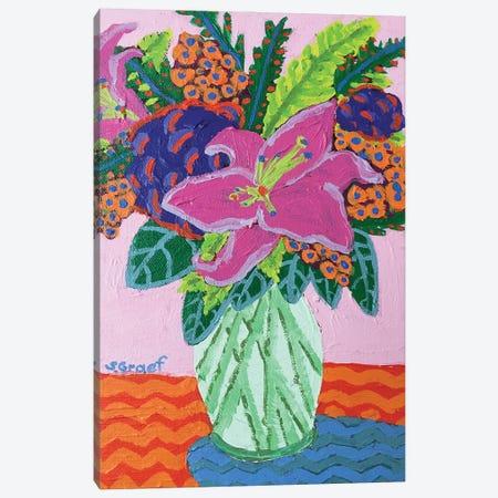 Flowers On Pink Canvas Print #GRA29} by Sue Graef Canvas Art