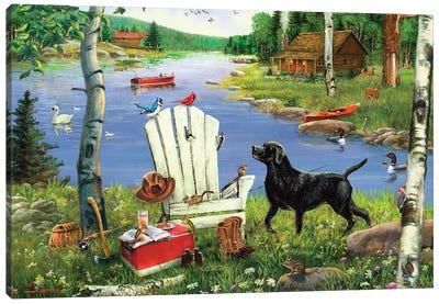 White Adirondack Chair And Dog At Lake Canvas Art Print